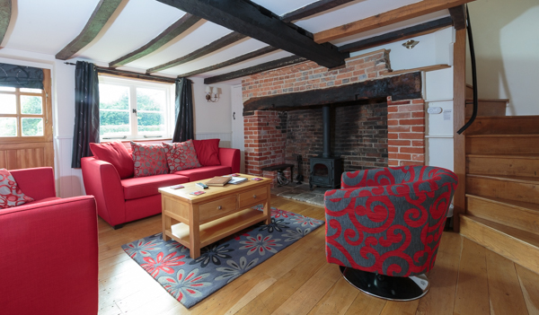 Woodburning stove in this New Forest Holiday Cottage